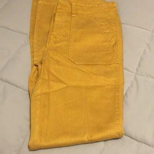 NWT JCrew zipper leg mustard color pants